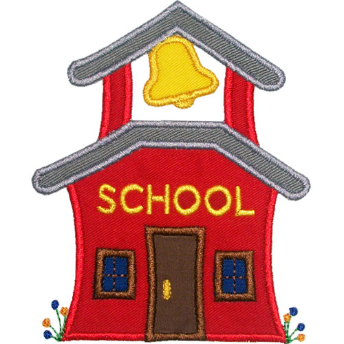 Old school house applique design for Old school house plans