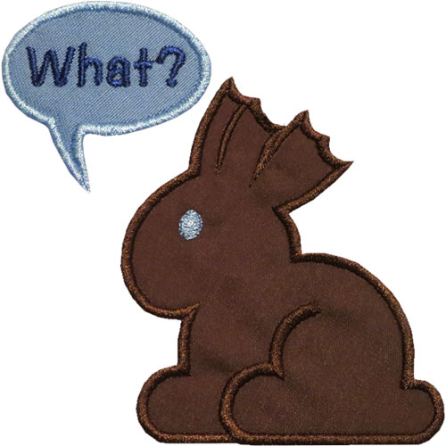 Chocolate Bunny What Applique Design