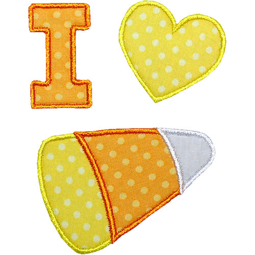 I Love Candy Corn Applique Design