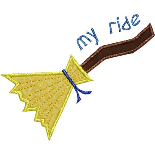 My Ride Witch Broom Applique Design