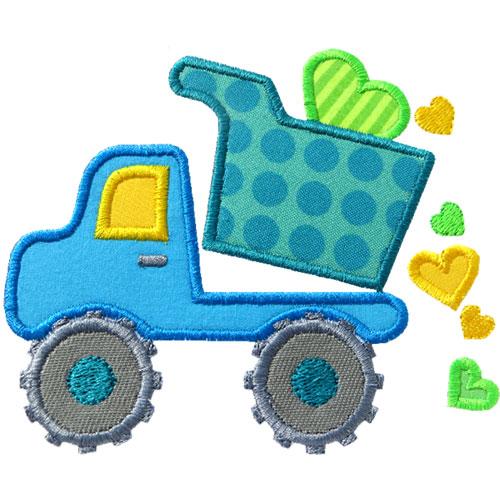 Valentine dump truck applique design for Truck design app