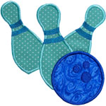 Bowling Ball Strike Applique Design