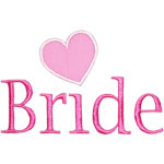 Bride Lettering Applique Design