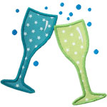 Champagne Glasses Applique Design
