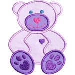 Heart Teddy Bear Applique Design