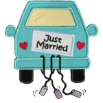 Just Married Car Applique Design
