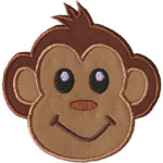 Monkey Face Applique Design