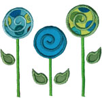 Swirled Flowers Applique Design