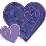 Two Swirled Hearts Applique Design