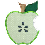 Apple Half Bite Applique Design