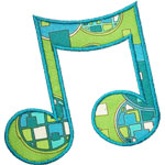 Beamed Music Note Applique Design