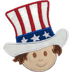 Boy Patriotic Hat Applique Design