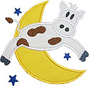 Cow Jumping Over the Moon Applique Design