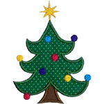 Curly Christmas Tree Applique Design