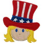 Girl Patriotic Hat Applique Design