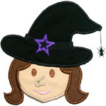 Girl Witch Head Applique Design