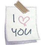 I Love You Note Applique Design