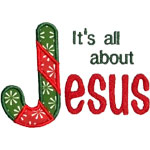 Jesus Candy Cane Applique Design