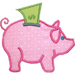 Piggy Bank Dollar Applique Design