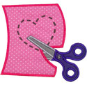 Scissors Heart Applique Design