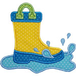 Splashing Rain Boot Applique Design