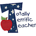 Totally Terrific Teacher Applique Design