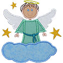 Boy Angel Cloud Applique Design