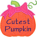 Cutest Pumpkin Bow Applique Design