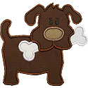 Dog and Bone Applique Design