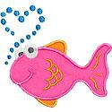 Fish Heart Bubbles Applique Design