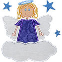 Girl Angel Cloud Applique Design