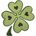 Heart Four Leaf Clover Applique Design
