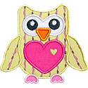 Heart Owl Applique Design