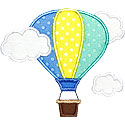 Hot Air Balloon Clouds Applique Design