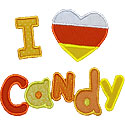 I Love Candy Applique Design