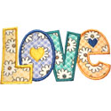Love Lettering Hearts Applique Design