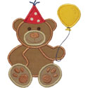 Party Teddy Bear Applique Design