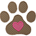 Pawprint Heart Applique Design