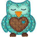 Sleeping Heart Owl Applique Design