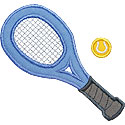 Tennis Racket Ball Applique Design