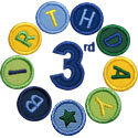 Third Birthday Circle Applique Design
