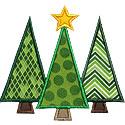 Three Christmas Trees Applique Design