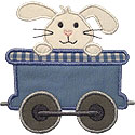 Train Car Bunny Applique Design