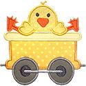 Train Car Chick Applique Design