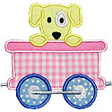 Train Car Puppy Applique Design