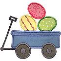 Wagon Easter Eggs Applique Design