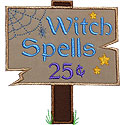 Witch Spells Applique Design