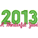 Wonderful Year 2013 Applique Design