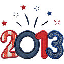 Year 2013 Fireworks Applique Design