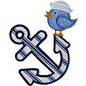 Anchor Sailor Bird Applique Design